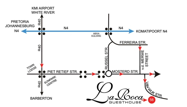 Map to La Roca Guesthouse